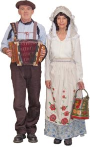 boatman and woman with melodeon
